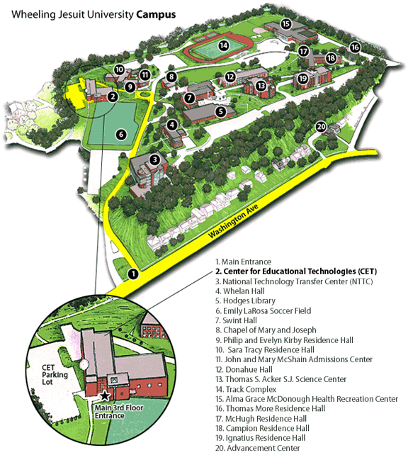 Image showing the Wheeling Jesuit University campus map. The map highlights where the Center for Educational Technologies building is located.  Please have someone assist you with this.